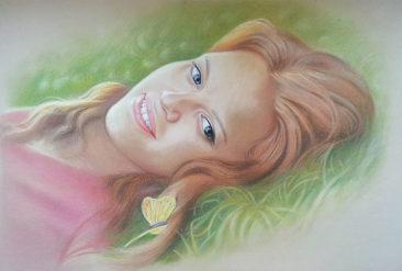 Настоящий портрет пастелью для любимой девушки в Томске, просто и со вкусом!