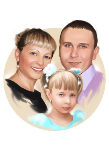 Семейный портрет по фото на холсте в Томске — правильный подарок!