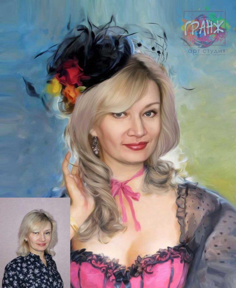 Заказать арт портрет по фото на холсте в Томске